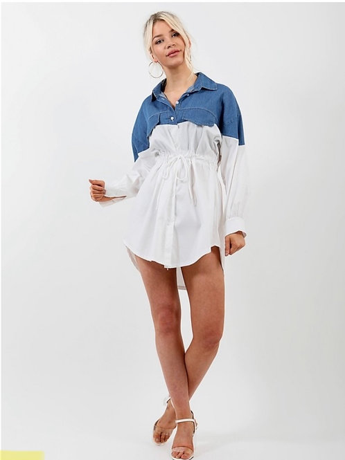 Two Tone Denim Detail Shirt Dress-Denim