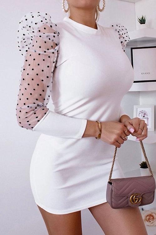 Polka Dot Sheer Puffed Sleeve Bodycon Mini Dress