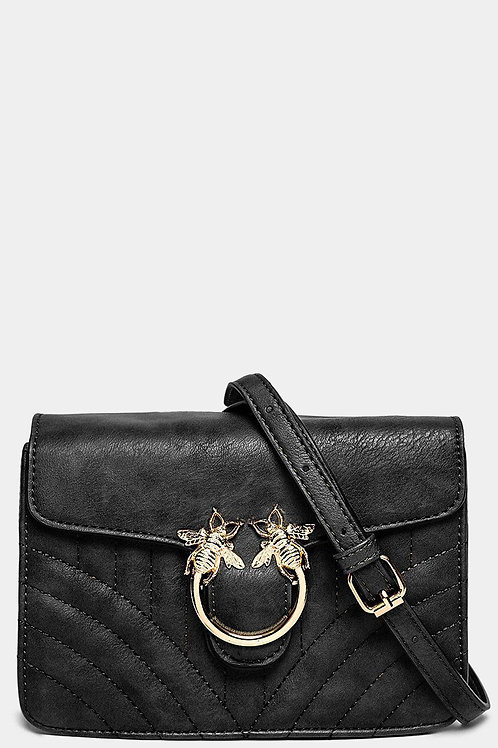 BLACK QUILTED BEE BUCKLE FRONT CROSSBODY BAG