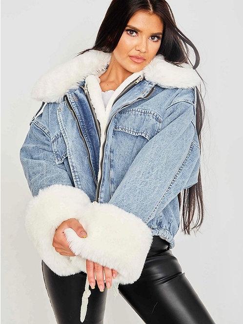 Oversized Faux Fur Lined Denim Jacket-Blue