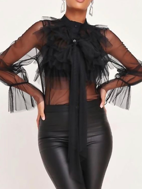 BLACK MESH TIE FRONT RUFFLE LAYERED BLOUSE
