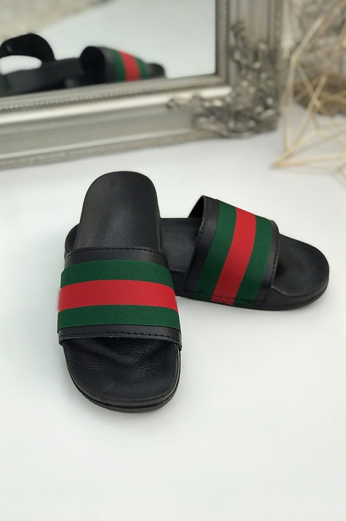 BLACK WITH RED AND GREEN STRIPE SLIDER