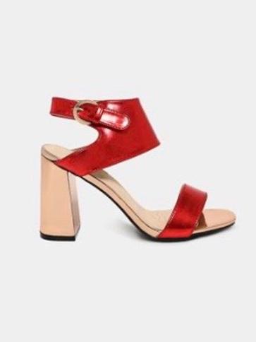 Metallic Red two tones Heel Sandals