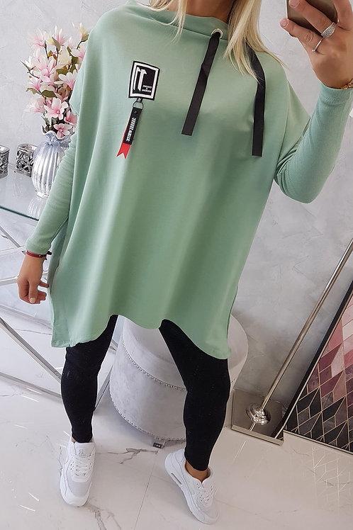 Oversize sweatshirt with asymmetrical sides dark mint
