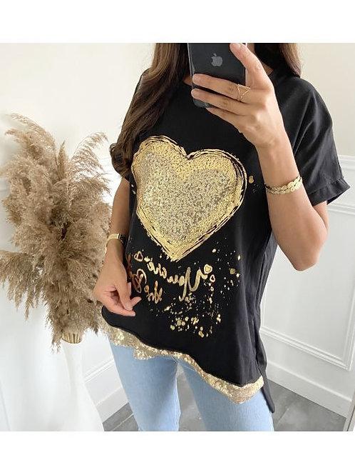 Women's T shirt Gold Heart Black