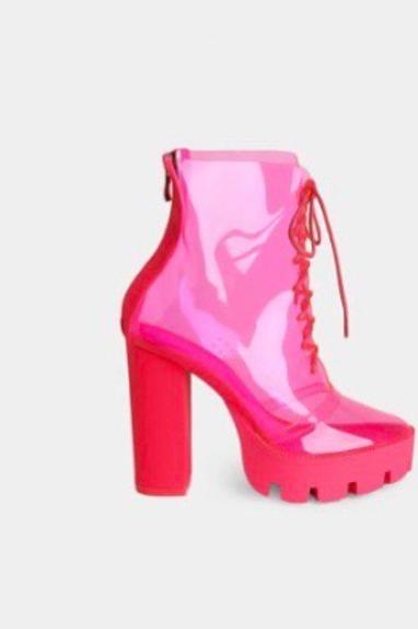 Pink Perspex Block Heel Boots