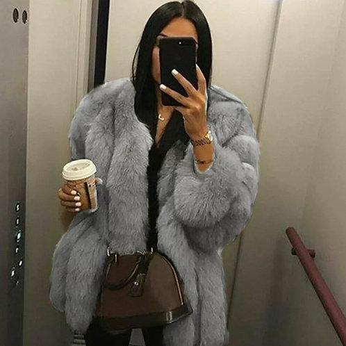 N Women Faux Fur Jacket Winter Thicken Warm Parkas Mid Long Outwear Fur Trench