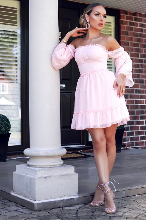 Dobby Fabric Tiered Sleeve & Frill Hem Bardot Dress