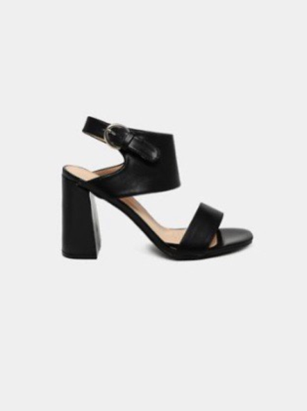 Black Two tones Flared Heels  Sandals