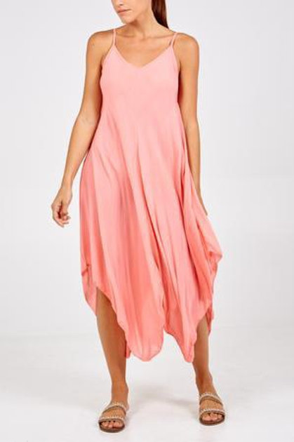 Plain Asymmetric Hem Dress