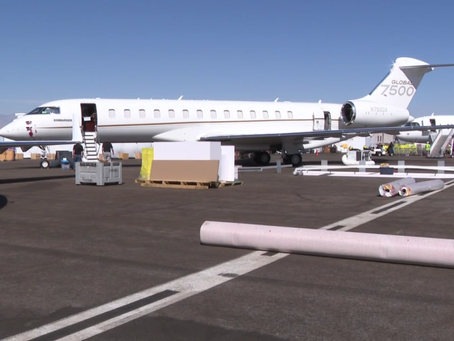Business jets arrive in Las Vegas for big business aviation convention