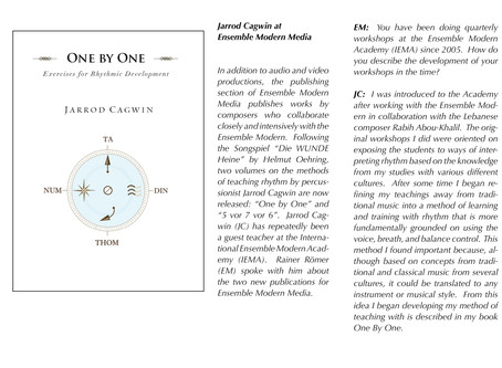 Interview by Ensemble Modern Media for the publication of my rhythmic development book One by One (2