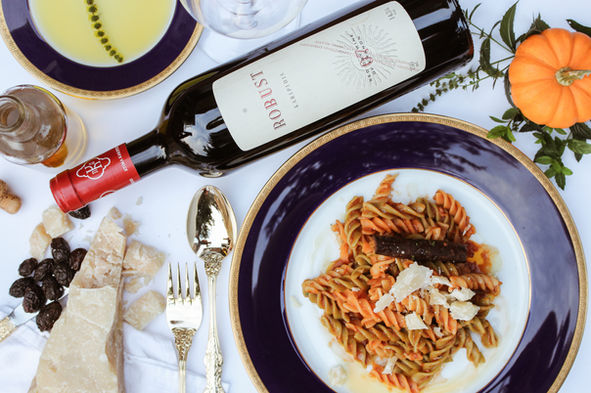 Italian Meal of Pasta and Wine - Delicious food photography in Abu Dhabi