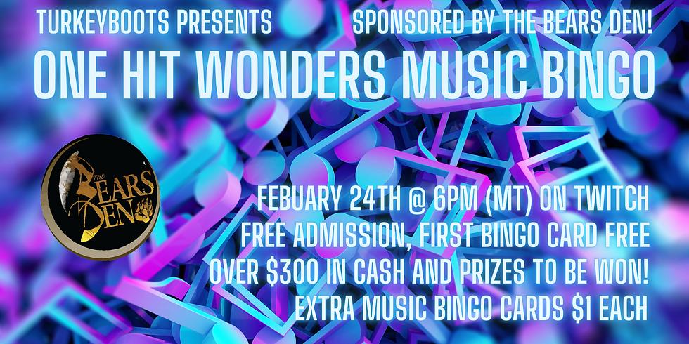 One Hit Wonders Music Bingo