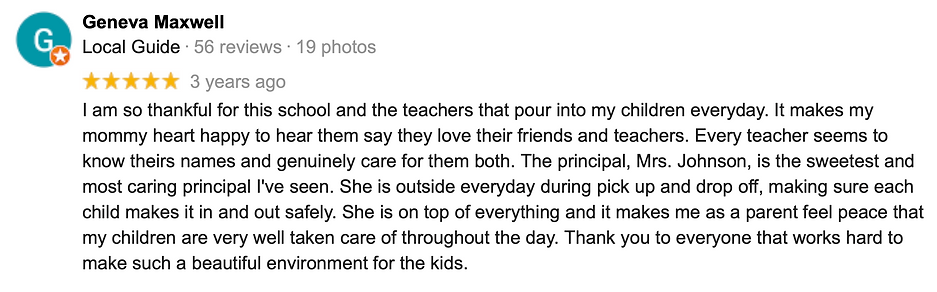 Google review for SCA