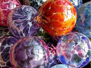 Glass holiday ornaments from Sunspots