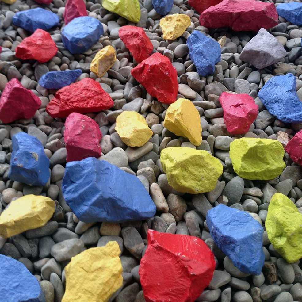 Original painted rocks installation by Halaburda