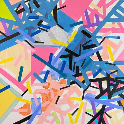 Cubist cartograophy on canvas by Halaburda
