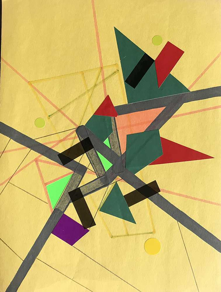 """Jaune Refractioo of Ceriicaa"", acrylic, felt tip colored & tape on paper 21 x 28 cm - 8""x 11"", USA, 2020"