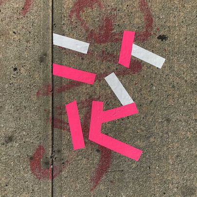Original tape art on sidewalks of Brooklyn by Halaburda