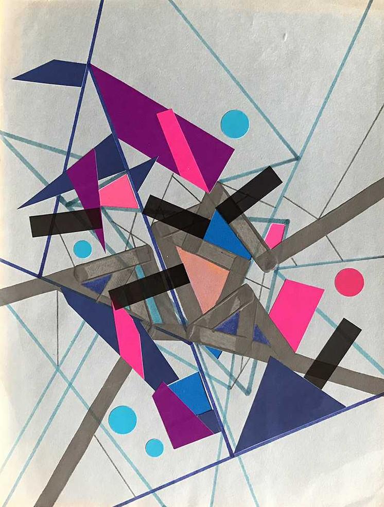 """Bleu Refractioo of Ceriicaa"", acrylic, felt tip colored & tape on paper 21 x 28 cm - 8""x 11"", USA, 2020"