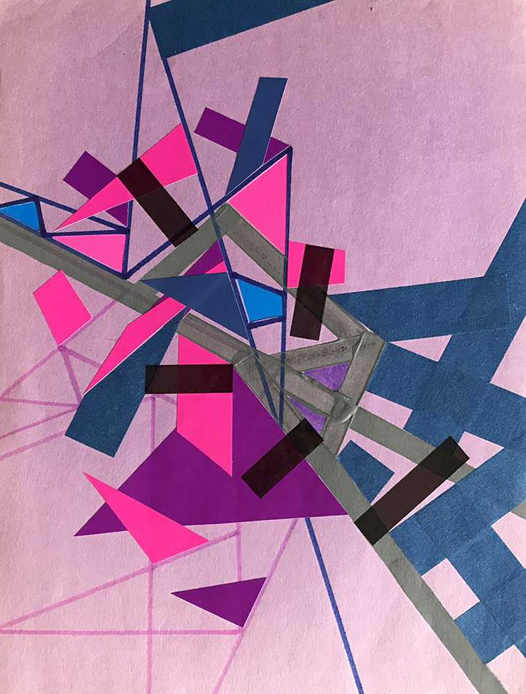 """""""Violet Refractioo of Ceriicaa"""", acrylic, felt tip colored & tape on paper 21 x 28 cm - 8""""x 11"""", USA, 2020"""