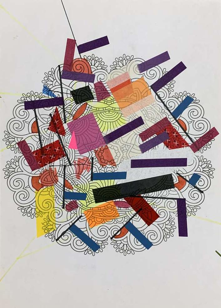 Original tape art on printed paper by Halaburda