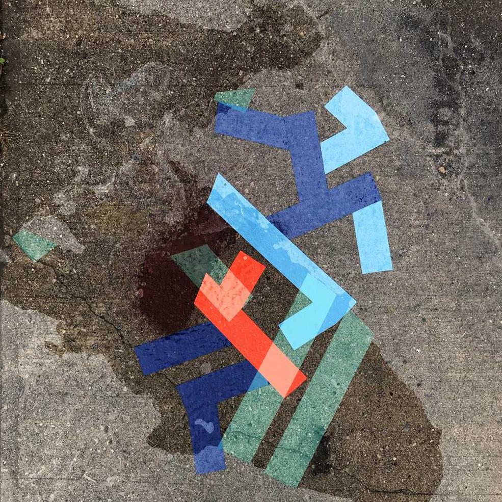 Digital art based on original tape art on sidewalks by Halaburda