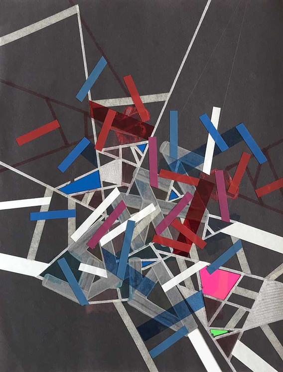 Original tape art on dark gray paper by Halaburda