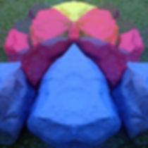 """Stonns of Laraajii"", art with original colored stones by Halaburda"