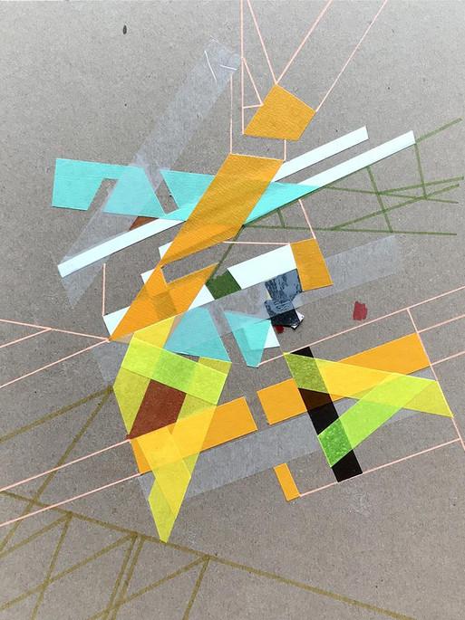 Original tape art on cardboard kraft paper by Halaburda