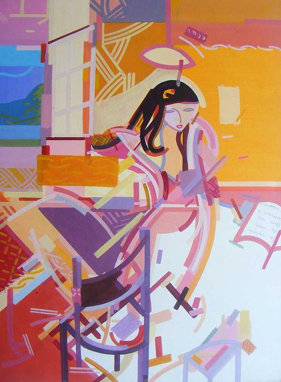 Semi-figurative painting oncanvas by Halaburda