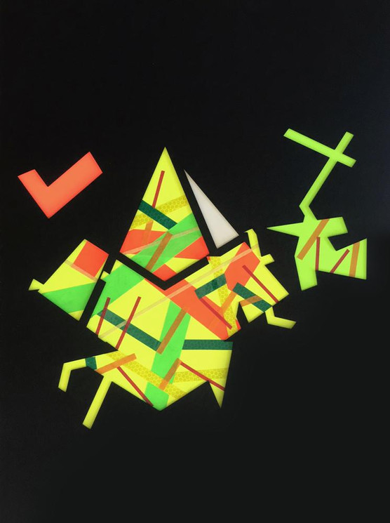 Original tape art on black board by Halaburda