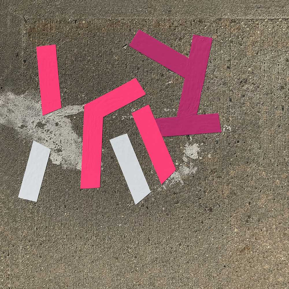 Original tape art on sidewalks of Brooklyn by Halaburda