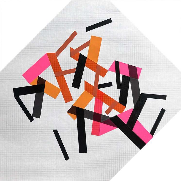 Original tape art on paper grid by Halaburda