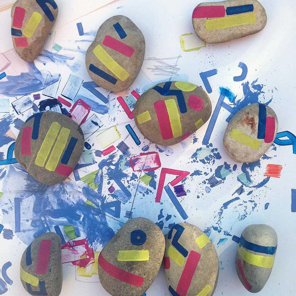 Original painted rocks installation by Halaburda