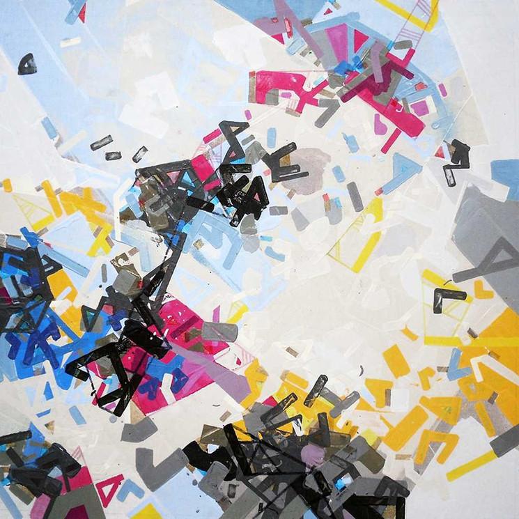 Abstract urban landscapes on canvas by Halaburda