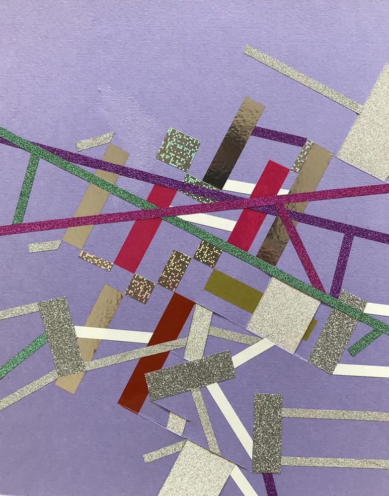 Original tape art on color paper by Halaburda