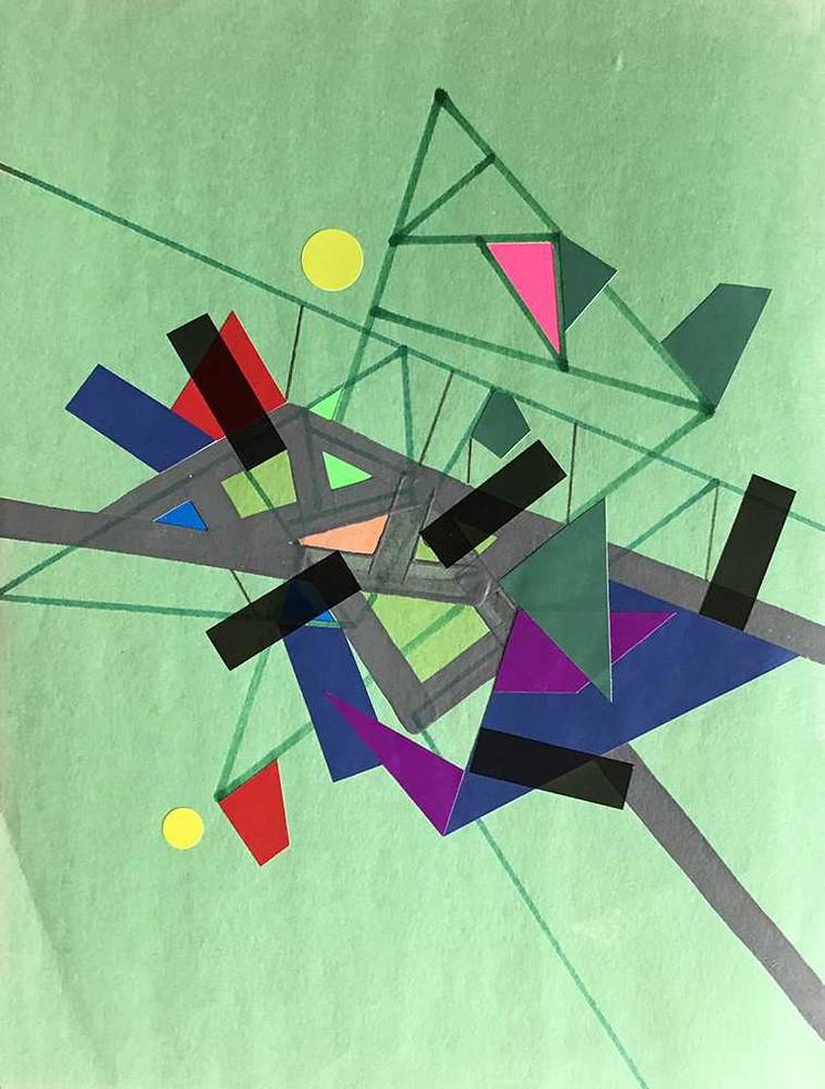 """Verte Refractioo of Ceriicaa"", acrylic, felt tip colored & tape on paper 21 x 28 cm - 8""x 11"", USA, 2020"