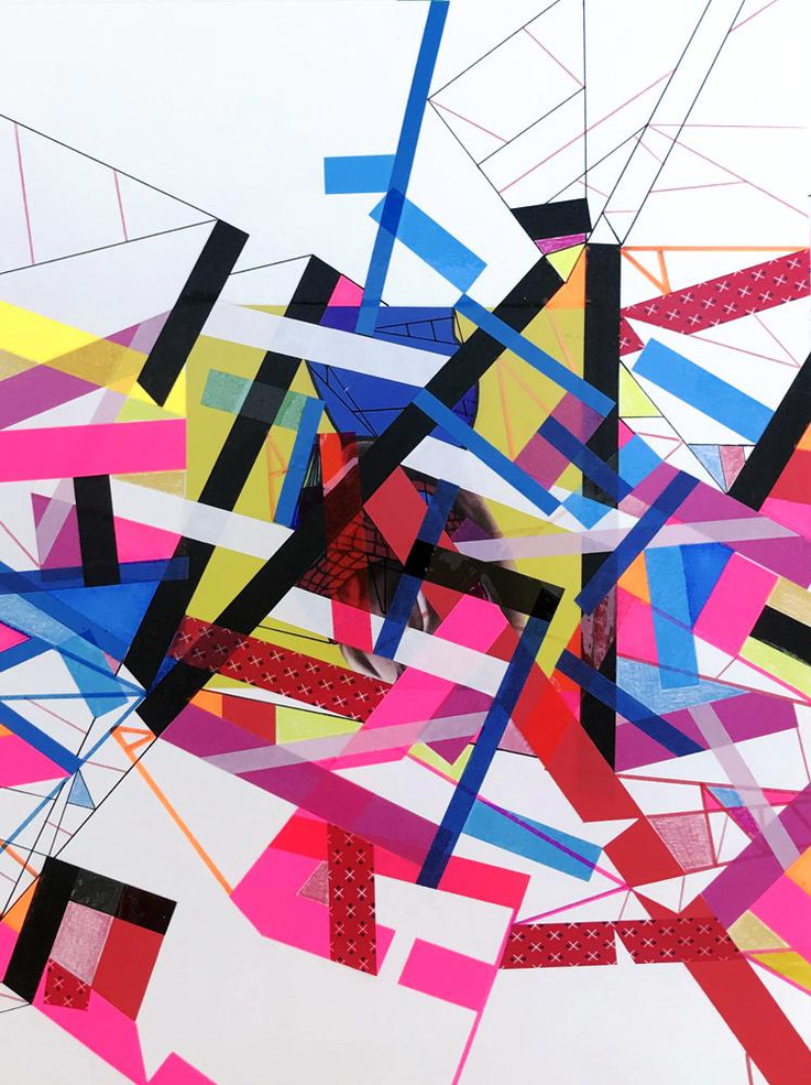 Original tape art on paper by Halaburda