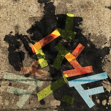 Tape art on sidewalks