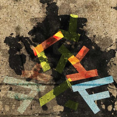 Tape art on the sidewalks