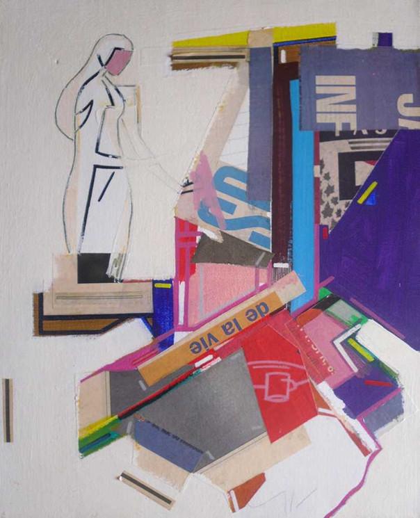 Semi figurative collages oncanvas by Halaburda