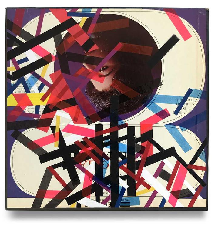 Original tape art on vintage record sleeve by Halaburda