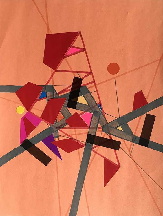 """Orange Refractioo of Ceriicaa"", acrylic, felt tip colored & tape on paper 21 x 28 cm - 8""x 11"", USA, 2020"