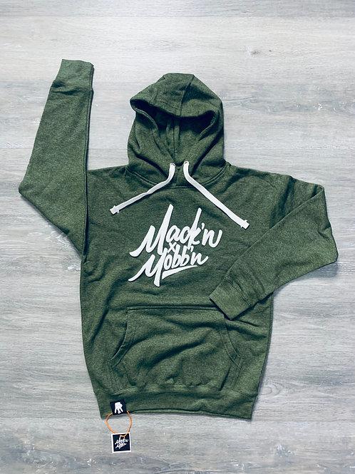 Unisex Mack'n & Mobb'n Heather GreenHoodie w/ White Logo