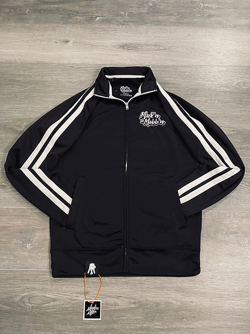 Mack'n & Mobb'n Black Track Jacket w/ White XL Chenille Patch on Back