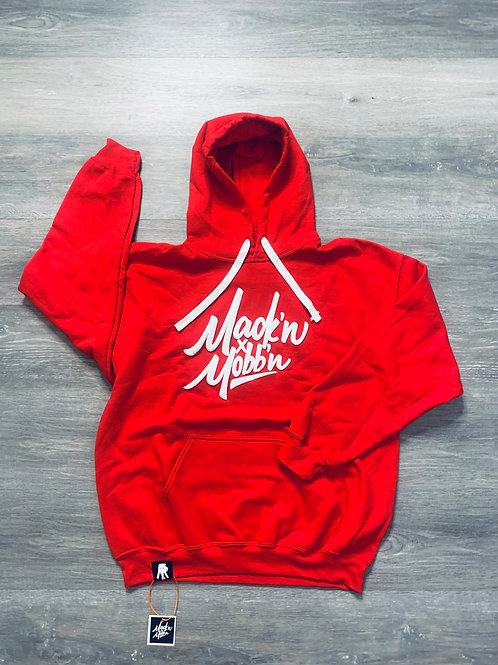 Unisex Mack'n & Mobb'n Red Hoodie w/ White Logo