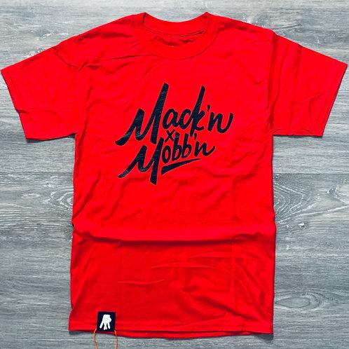 Men / Unisex Mack'n & Mobb'n Red Tee w/ Black Logo