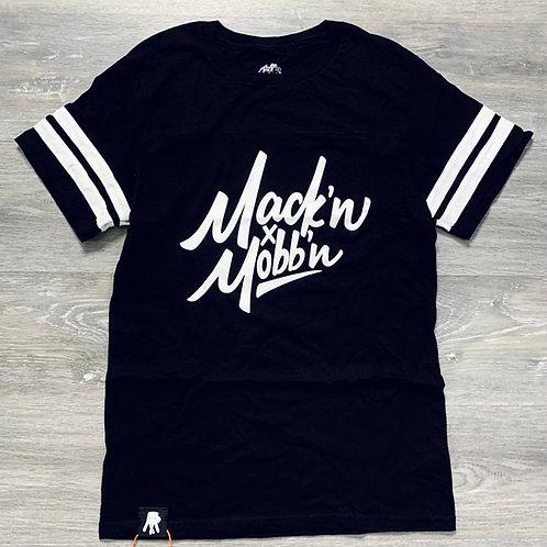 Men / Unisex Mack'n & Mobb'n Striped Tee w/ White Logo